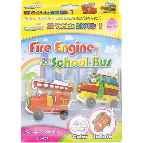 Bong bóng tô màu trang trí hình xe buýt + xe cứu hỏa-Thế giới