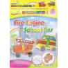 Bong bóng tô màu trang trí hình xe buýt + xe cứu hỏa