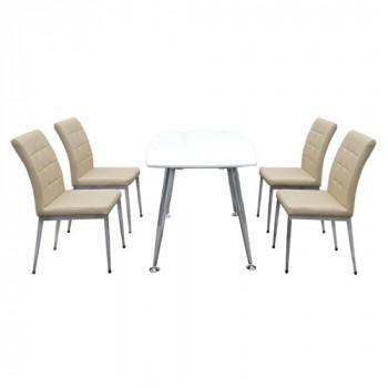 Bộ bàn ghế ăn B68 trắng, G68-Thế giới đồ gia dụng HMD