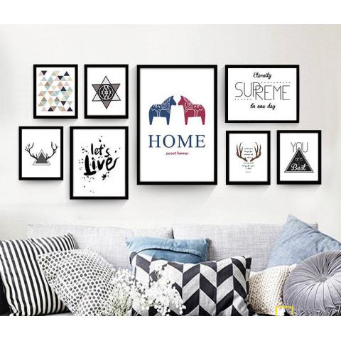Bộ 8 Tranh Home Sweet Hom-Thế giới đồ gia dụng HMD