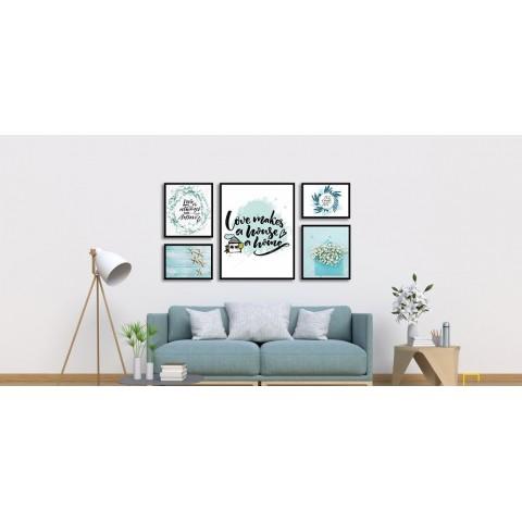 Bộ 5 Tranh Love Makes House A Home-Thế giới đồ gia dụng HMD