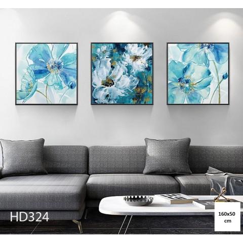 Bộ 3 Tranh Hoa Màu Nước-Thế giới đồ gia dụng HMD