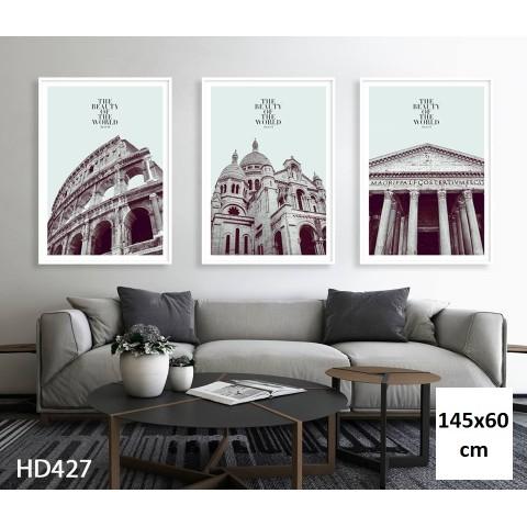 Bộ 3 Tranh The Beauty Of The World-Thế giới đồ gia dụng HMD