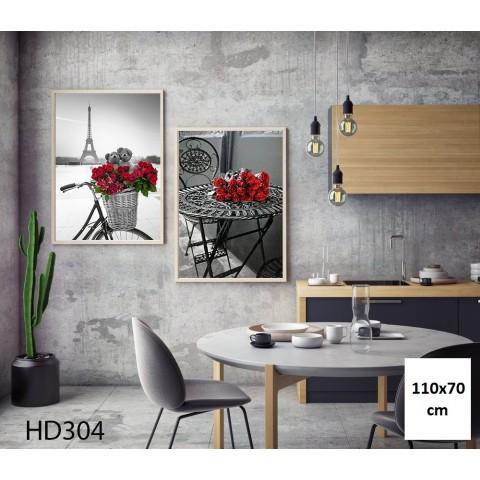 Bộ 2 Tranh Paris Và Hoa Hồng Đỏ-Thế giới đồ gia dụng HMD