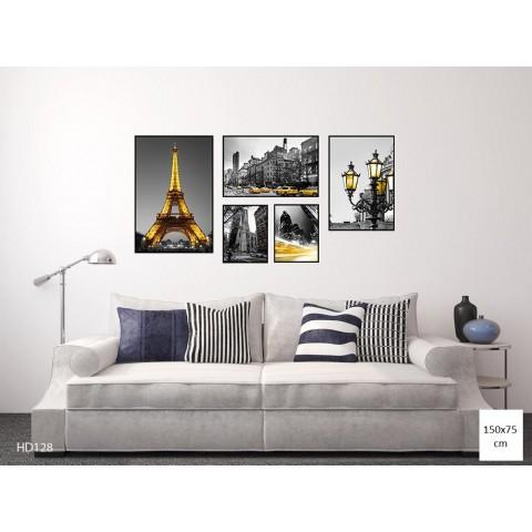 Bộ 5 Tranh Thành Phố Paris Màu Vàng-Thế giới đồ gia dụng HMD