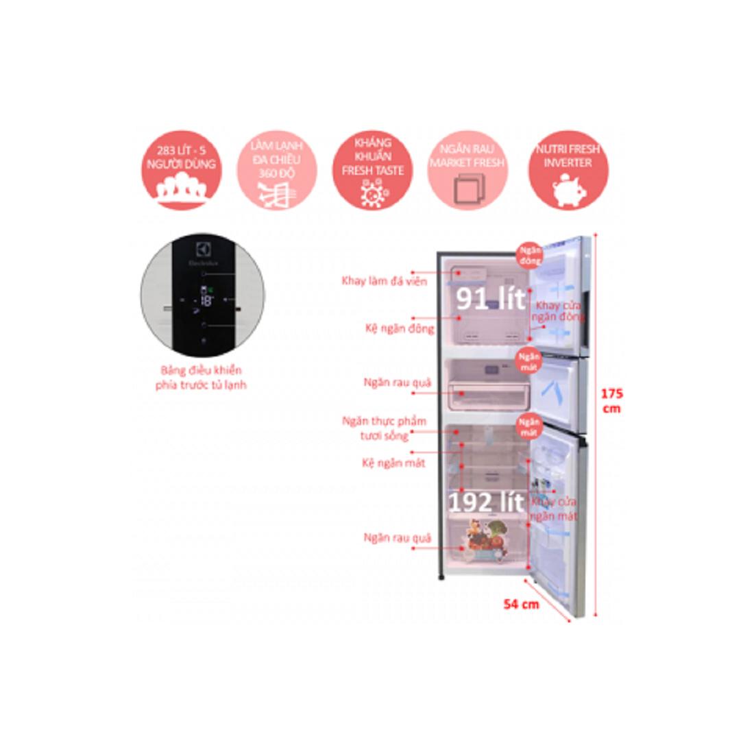 Tủ lạnh Electrolux Inverter 364 lít EME3500MG-Thế giới đồ gia