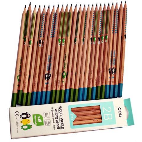 Bút chì 2 B màu gỗ-Thế giới đồ gia dụng HMD