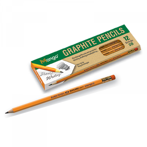 Bút chì gỗ 2 B đen có gôm-Thế giới đồ gia dụng HMD
