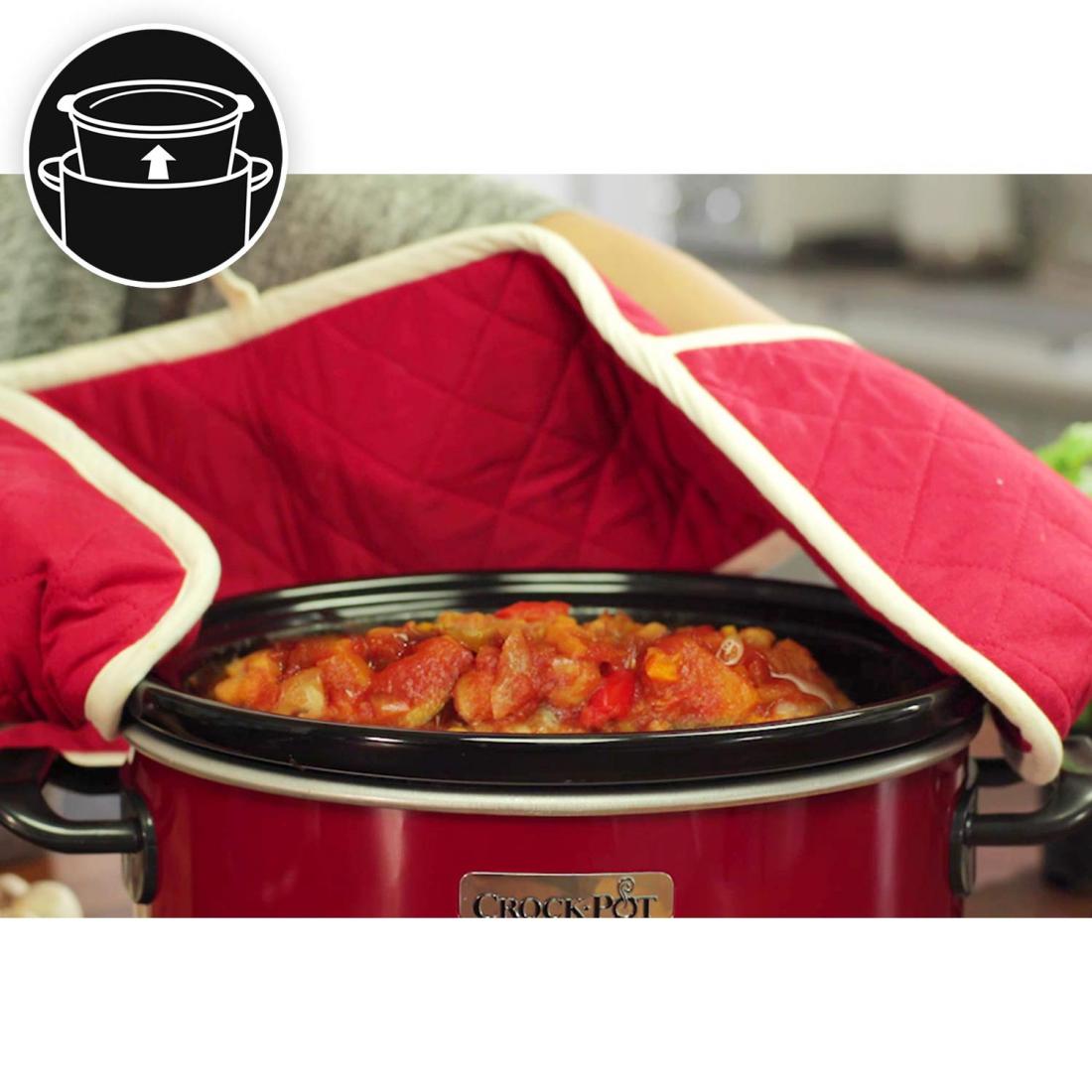 Nồi nấu chậm Crock Pot 3,5L, đỏ-Thế giới đồ gia dụng HMD
