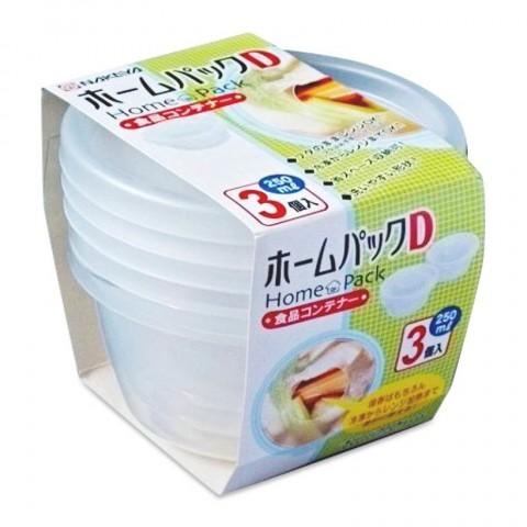 Bộ 3 hộp thực phẩm tròn 250ml - Nắp trong-Thế giới đồ gia dụng