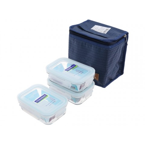 Bộ 3 hộp thủy tinh 400ml tặng kèm túi giữ nhiệt-Thế giới đồ gia