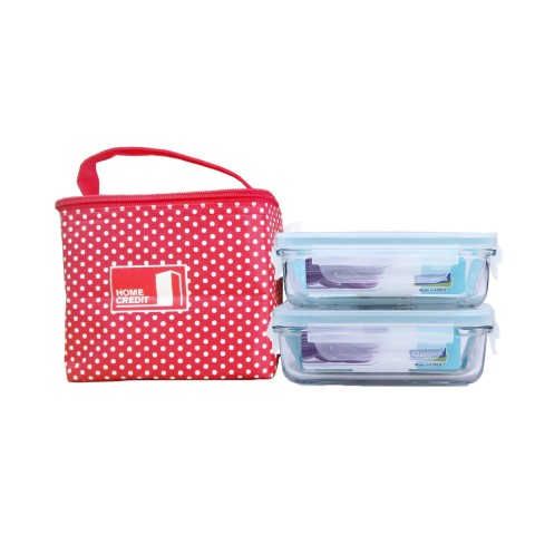 Combo túi đựng cơm + 2 hộp đựng thực phẩm Glasslock 400ml-Thế