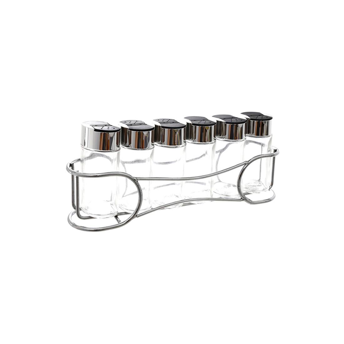 Bộ lọ đựng gia vị 6 món khay inox-Thế giới đồ gia dụng HMD