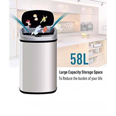 Thùng rác cảm biến thông minh Homcom 58 lít