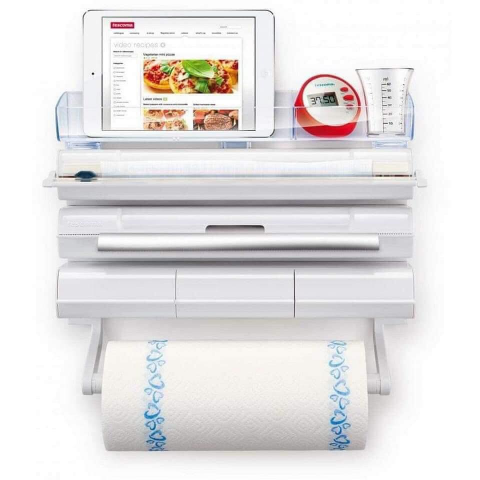Giá treo, cắt các loại giấy nhà bếp Tescoma 5 in 1 OnWall-Thế