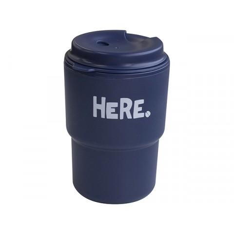 Cốc uống nước kèm nắp xoay có lỗ cắm ống hút (màu xanh