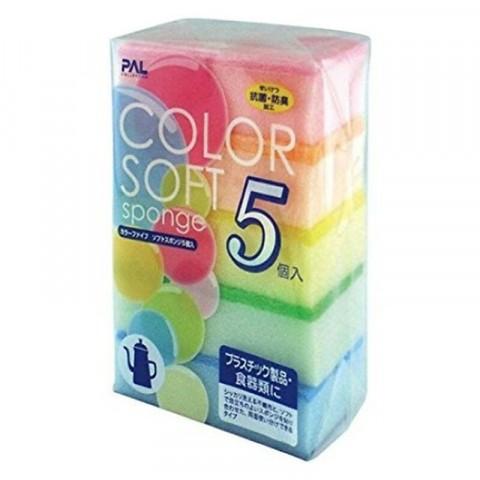 Set 5 miếng xốp rửa bát có 1 mặt ráp (mẫu mới)-Thế giới đồ gia