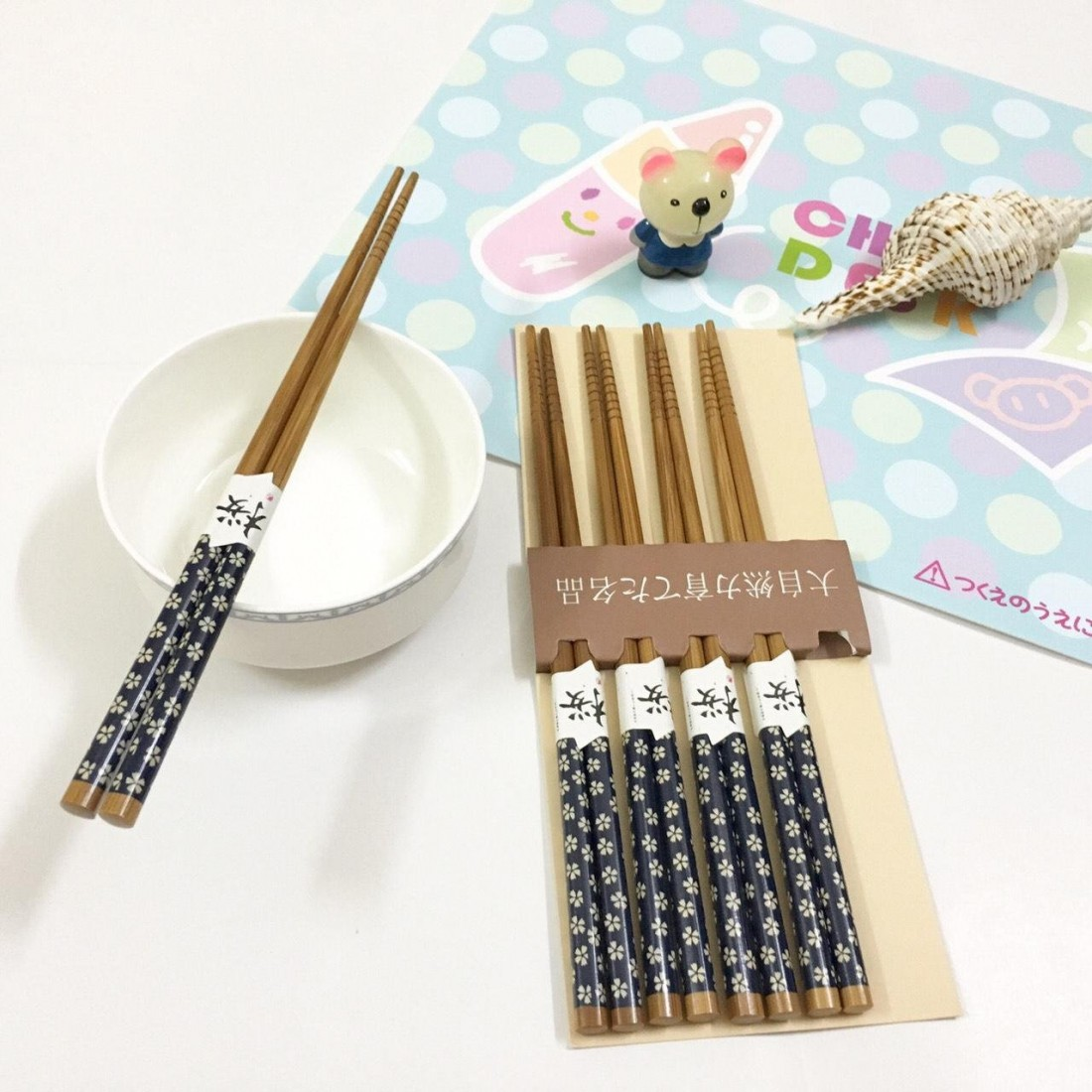 Set 5 đôi đũa hoa xanh (Made in Japan)-Thế giới đồ gia dụng HMD