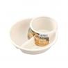 Khay ăn chia 2 ngăn sâu lòng kèm khay để cốc màu trắng-Thế giới
