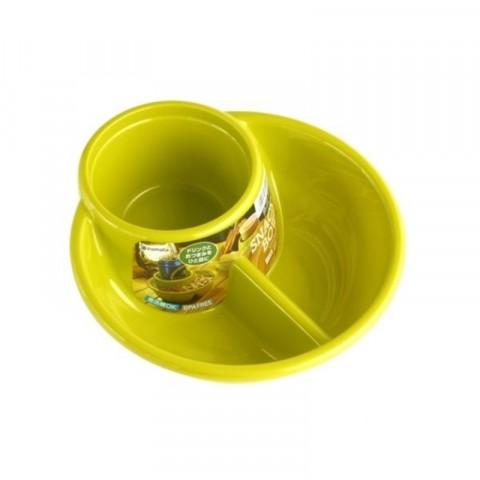 Khay ăn chia 2 ngăn sâu lòng kèm khay để cốc màu xanh lá-Thế