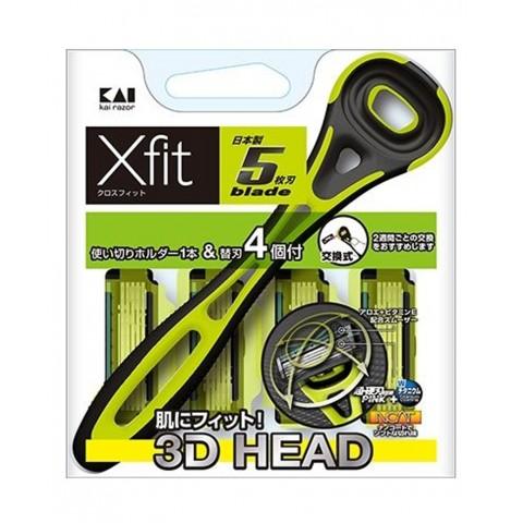 Set dao cạo 5 lưỡi kép Xfit KAI (1 thân, 4 lưỡi thay thế) - hộp