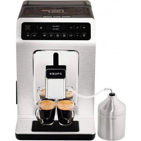 Máy pha cafe Krups EA891C, làm sạch tự động, chức năng 2 ly, màn hình OLED