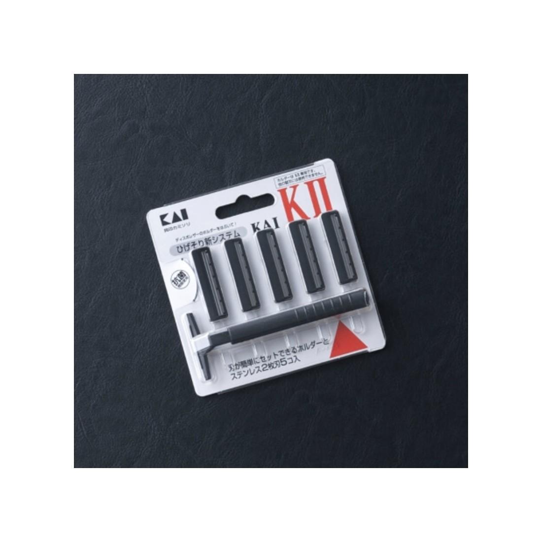 Set dao cạo 2 lưỡi kép KAI (1 thân, 5 lưỡi)-Thế giới đồ gia