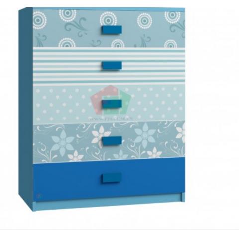 Tủ Cabinet hoa văn xanh dương-Thế giới đồ gia dụng HMD