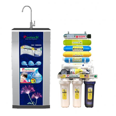 Máy lọc nước Ro Pretech cao cấp 8 lõi lọc có đèn UV(màu xanh
