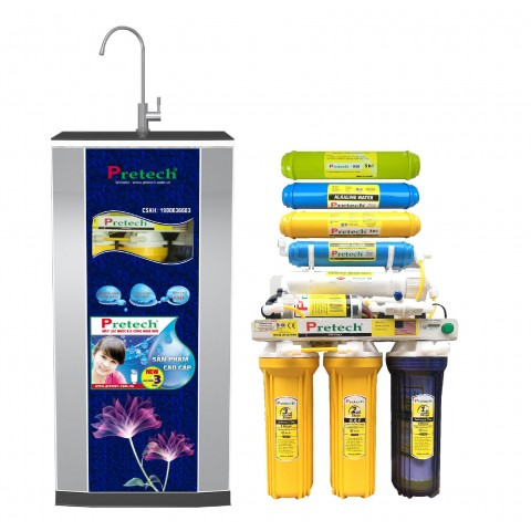 Máy lọc nước Ro Pretech cao cấp 8 lõi lọc có đèn UV (màu xanh
